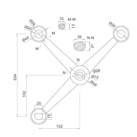 Grampón Serie 4TA-3 brazos