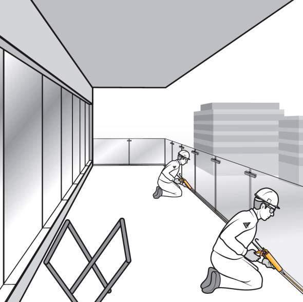 Paso 13. Aplicación del sellante de estanqueidad en la junta del perfil en U de la barandilla de vidrio de fijación oculta
