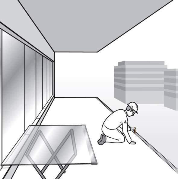 Paso 6. Instalación de topes en el perfil en U y calzos para barandilla de vidrio de fijación oculta