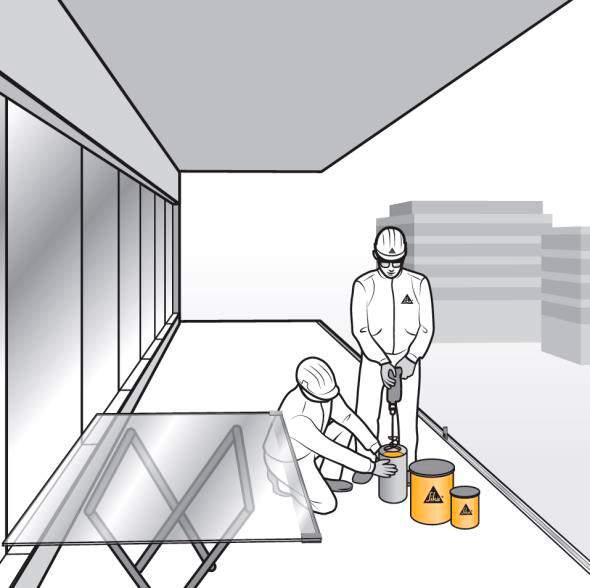 Paso 7. Preparación de la mezcla bicomponente de SikaForce 335 GG para encastrado de barandillas de vidrio
