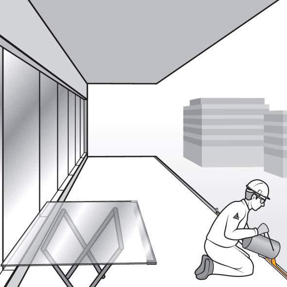 Paso 8. Vertido de la mezcla de Sikaforce 335 gg en el perfil en U para barandilla de vidrio de fijación oculta
